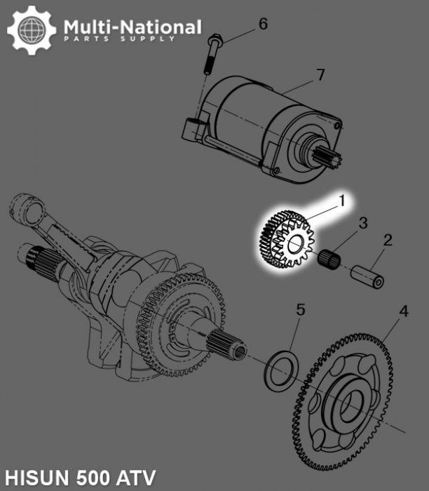 Starter Gear - Double Gear, 40T/15T, ATV, Hisun, 500-700cc