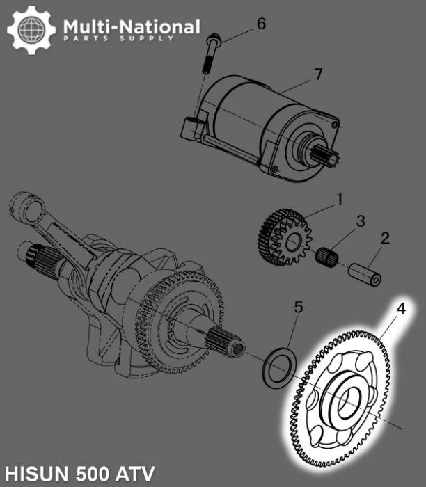 Starter Gear - Intermediate Gear, 67T, ATV, Hisun, 500-700cc