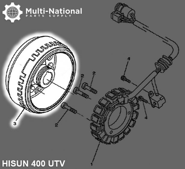 Magneto Cylinder - Hisun, 400-700cc, ATV/UTV