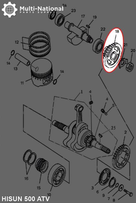 Driven Gear - Double Gear, 44T/31T, ATV, Hisun, 500-700cc