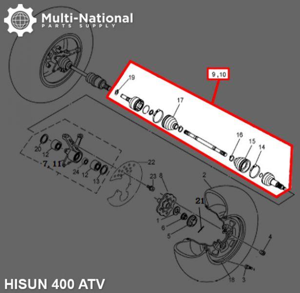 Drive Shaft - 400cc, ATV, Hisun, Left