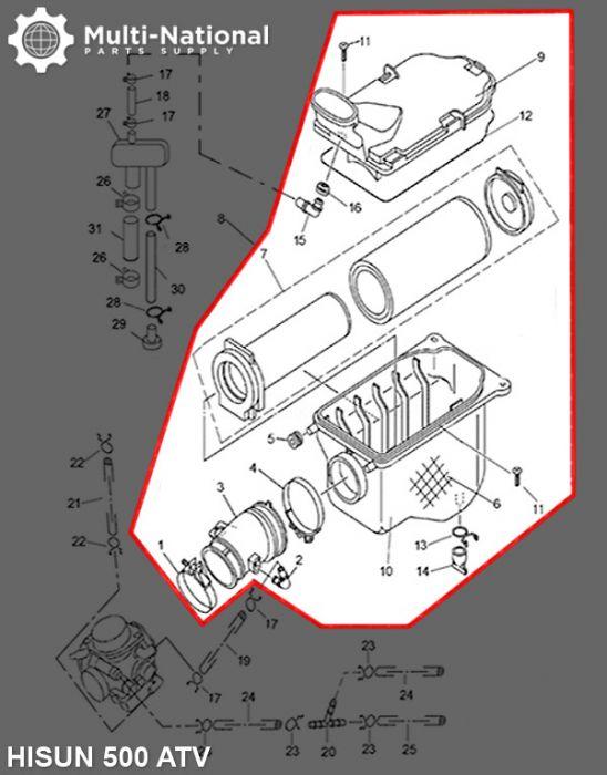 Air Filter Assembly - Air Cleaner Box, ATV, Hisun, 500-700cc
