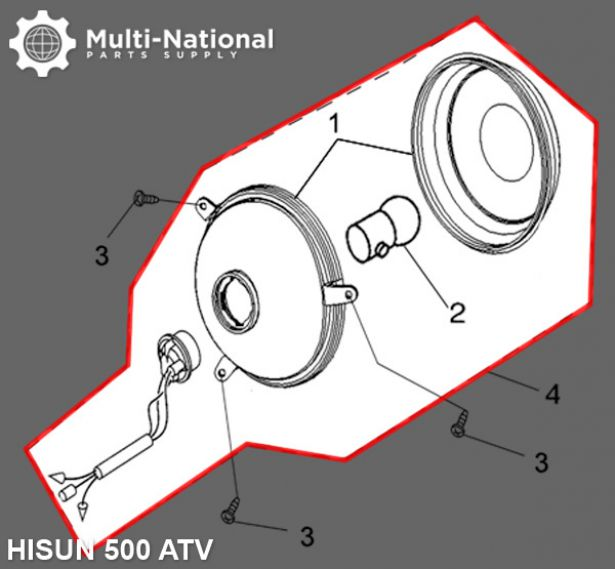 Rear Light - ATV, Hisun, 500-700cc