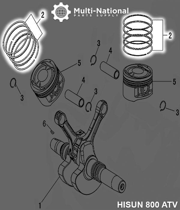 Piston Rings - 95mm (5pcs), ATV, Hisun, 800cc