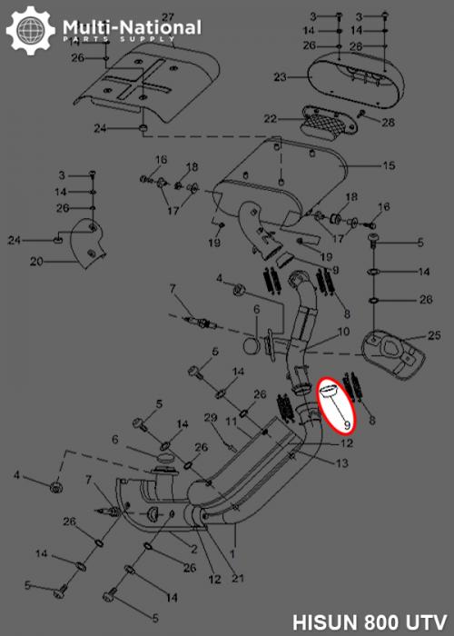 Muffler Sealing Boot - Hisun, 400-800cc, ATV/UTV