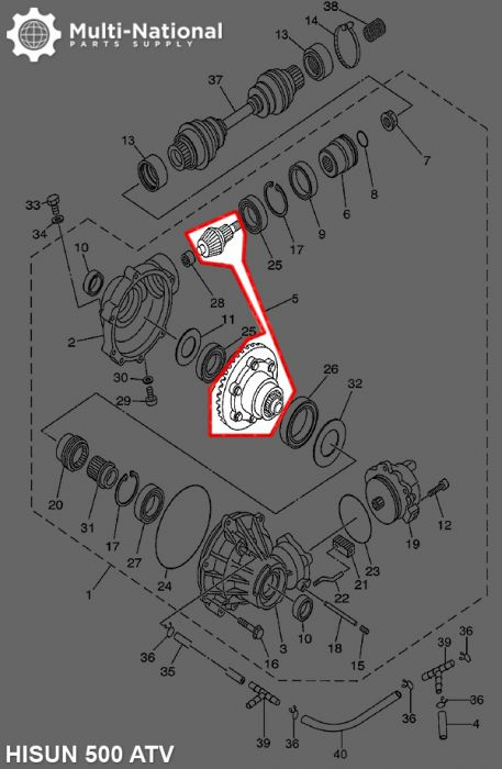 Front Differential Gears - ATV/UTV, Hisun, 400-700cc
