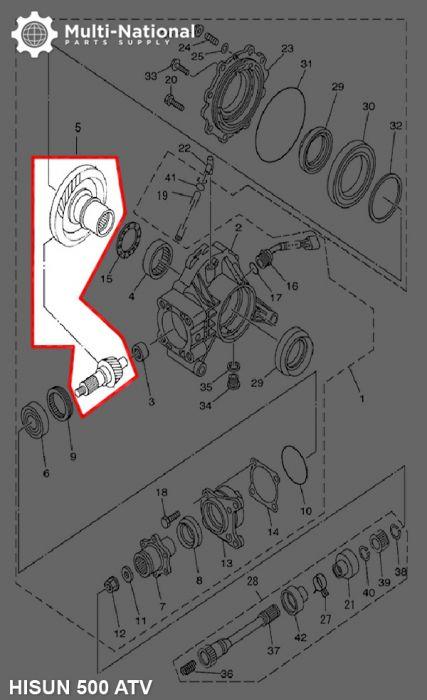 Rear Differential Gears - ATV/UTV, Hisun, 400-700cc