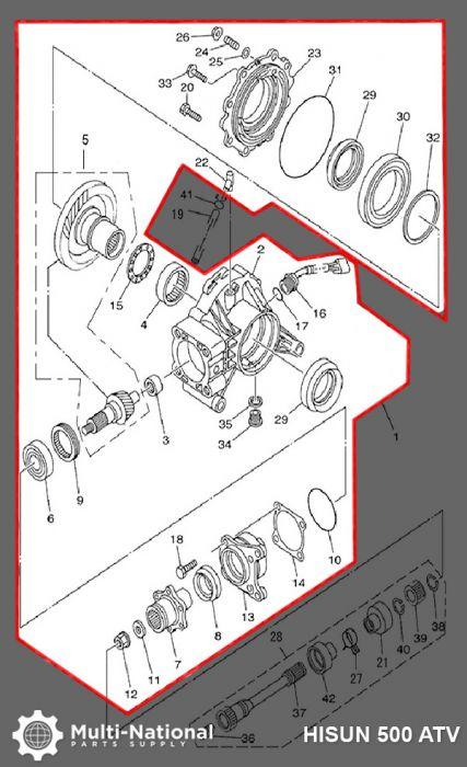 Speed Reducer Assembly - Rear, ATV/UTV, Hisun, 400-700cc
