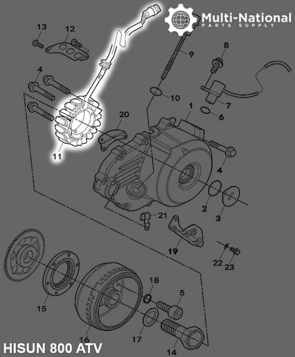 Stator - Magneto Coil, 18G, 3 Wire, 800cc, Hisun
