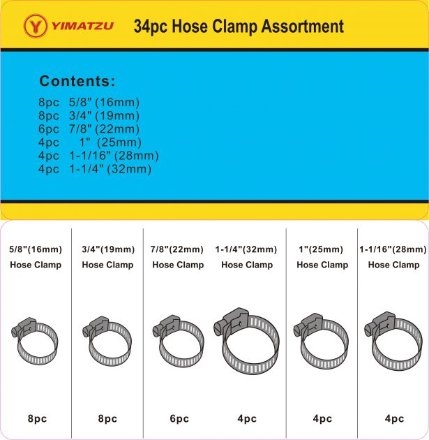 Gear Clamp Kit - Hose Clamp Assortment (34pcs)