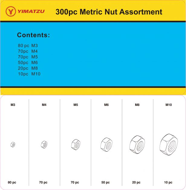 Nut Kit - Metric Nut Assortment (300pcs)