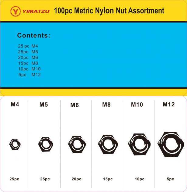 Locknut Kit - Metric Nylon Lock Nut Assortment (100pcs)