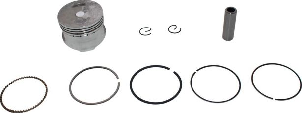 Piston and Ring Set - 50cc to 110cc, GY6, 50mm, 13mm (9pcs)