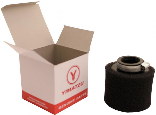 Air Filter - 38mm, Sponge, Straight, Yimatzu Brand, Black