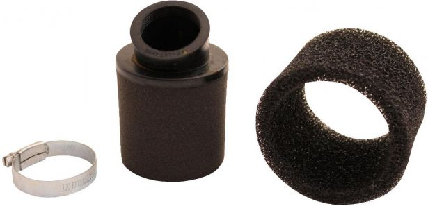 Air Filter - 38mm, Sponge, Angled, Yimatzu Brand, Black