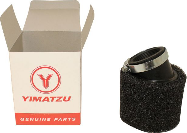 Air Filter - 44mm, Sponge, Angled, Yimatzu Brand, Black
