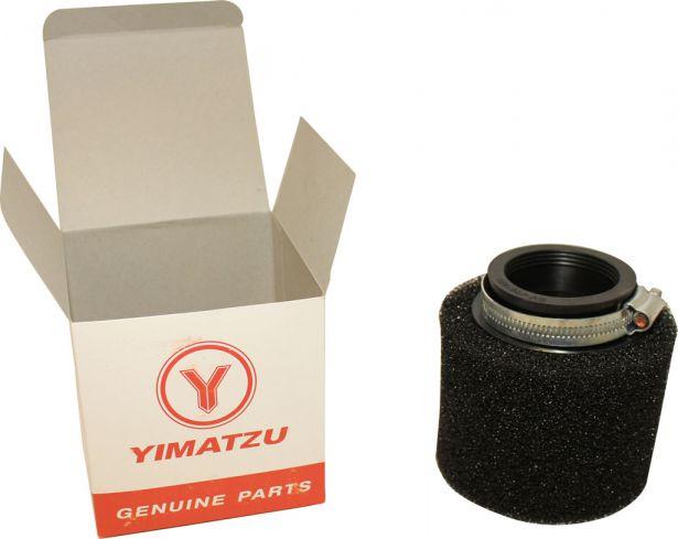 Air Filter - 48mm, Sponge, Straight, Yimatzu Brand, Black