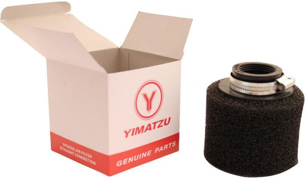 Air Filter - 35mm, Sponge, Straight, Yimatzu Brand, Black