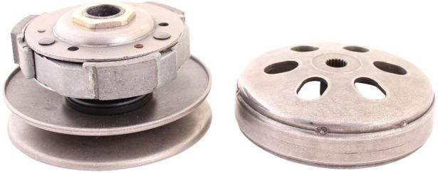 Clutch - Drive Pulley with Clutch Bell, GY6, 125cc to 150cc, 19 Spline